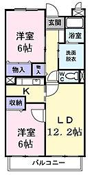 千葉県東金市田間2丁目の賃貸マンションの間取り