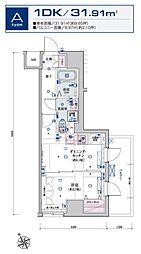リヴシティ横濱新川町弐番館 3階1DKの間取り