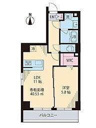 都営新宿線 菊川駅 徒歩6分の賃貸マンション 5階1LDKの間取り