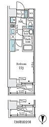東京メトロ東西線 東陽町駅 徒歩6分の賃貸マンション 2階1Kの間取り