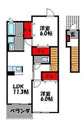 ブリアンメゾン D[2階]の間取り