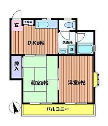 リバーハイツM[2階]の間取り