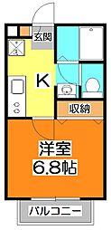 東京都東村山市秋津町5の賃貸アパートの間取り