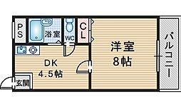 GARDEN TREE岡町[202号室]の間取り