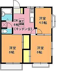 埼玉県上尾市中妻3丁目の賃貸アパートの間取り