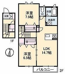 仮)ガーデンズK B棟[210号室]の間取り
