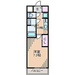 東急東横線 大倉山駅 徒歩10分の賃貸マンション 1階1Kの間取り