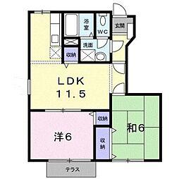 和歌山県和歌山市延時の賃貸アパートの間取り