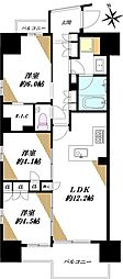 レジデンシャル東中野 11階3LDKの間取り