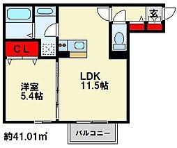 Polonia MatsubaraA棟 1階1LDKの間取り
