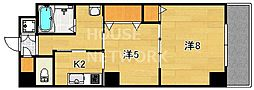 京都府京都市東山区五軒町の賃貸マンションの間取り