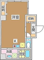 JR京浜東北・根岸線 石川町駅 徒歩4分の賃貸マンション 5階ワンルームの間取り