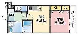 フジパレスフィオーレ八戸ノ里[1階]の間取り