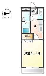 埼玉県行田市大字長野の賃貸アパートの間取り