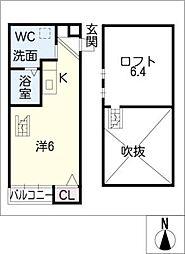 愛知県名古屋市南区明治2の賃貸アパートの間取り