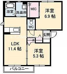 香川県高松市岡本町の賃貸アパートの間取り
