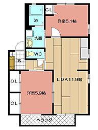 ペニーレイン18 D棟[201号室]の間取り