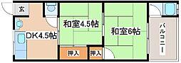 貴崎ラッキーハウス[西2つ目号室]の間取り