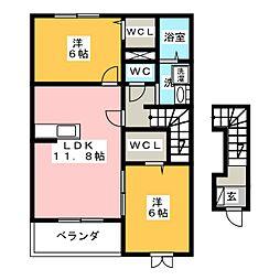 ルサルカ B棟[2階]の間取り