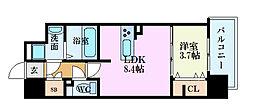 カシマ上東雲 6階1LDKの間取り
