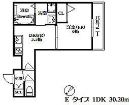 グランデトワール2 2階1DKの間取り