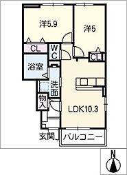 ウーナヴィーテ[1階]の間取り