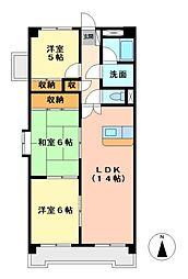 愛知県名古屋市天白区元植田2丁目の賃貸マンションの間取り
