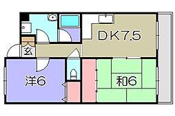 滋賀県東近江市西中野町の賃貸アパートの間取り