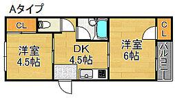 シャンブル北加賀屋[4階]の間取り