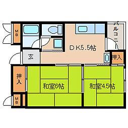 兵庫県尼崎市神田北通6丁目の賃貸マンションの間取り
