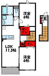 シャインズロード三代 参番館[2階]の間取り