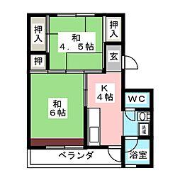 ビレッジハウス笠神 1号棟[1階]の間取り