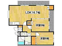 兵庫県姫路市飾磨区今在家6丁目の賃貸マンションの間取り