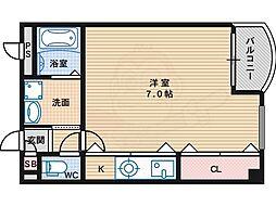 JR阪和線 杉本町駅 徒歩1分の賃貸マンション 4階ワンルームの間取り