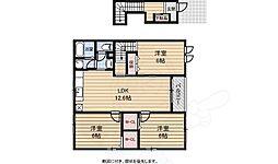 泉北高速鉄道 深井駅 徒歩23分の賃貸アパート 2階3LDKの間取り