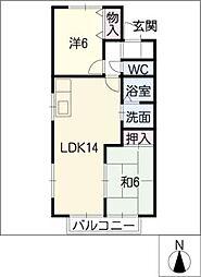 アムール栄B棟[2階]の間取り