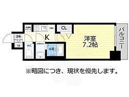 アドバンス名古屋モクシー 12階1Kの間取り