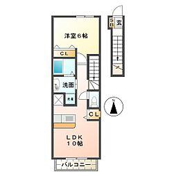三重県鈴鹿市住吉2丁目の賃貸アパートの間取り