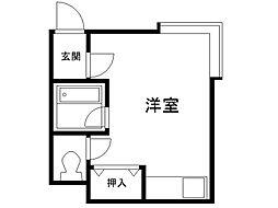 ラフォーレアイダ弐番館 1階ワンルームの間取り