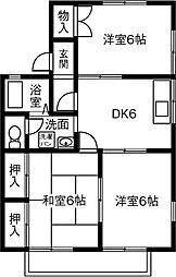 タウニーIKI[201号室]の間取り