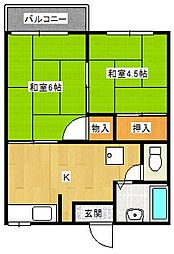 兵庫県豊岡市泉町の賃貸アパートの間取り