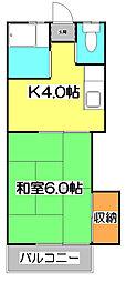 東京都西東京市住吉町2丁目の賃貸アパートの間取り