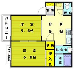 ブルーバレーヒルズ花見II[1階]の間取り