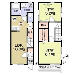 京王線 東府中駅 徒歩7分の賃貸アパート 1階2LDKの間取り