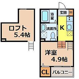 愛知県名古屋市熱田区古新町1丁目の賃貸アパートの間取り