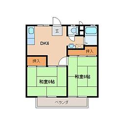 静岡県静岡市駿河区丸子2丁目の賃貸アパートの間取り