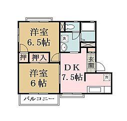 埼玉県草加市稲荷6丁目の賃貸アパートの間取り