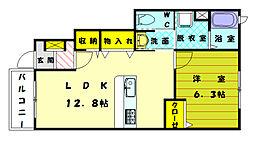 福岡県古賀市天神4の賃貸アパートの間取り