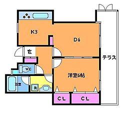グランディ菊野台[1階]の間取り