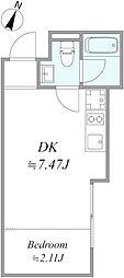 東京メトロ有楽町線 地下鉄赤塚駅 徒歩10分の賃貸アパート 1階1DKの間取り